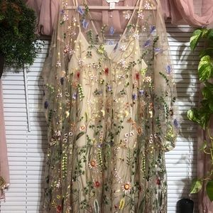 H&M festival dress with Floral Embroidery